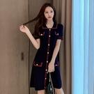 VK精品服飾 韓國風收腰顯瘦復古小香設計感針織短袖洋裝