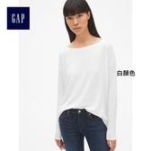 Gap女裝 簡約休閒風格長袖大圓領T恤  400584-白顏色