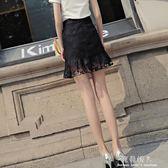 蕾絲短裙女夏新款包臀裙chic半身裙顯瘦高腰魚尾裙A字裙包裙 完美情人精品館