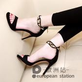 涼鞋/露趾女夏一字扣帶高跟鞋細跟防水台「歐洲站」