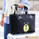 帆布大容量旅行袋可愛輕便女手提單肩可套拉桿箱包【小獅子】