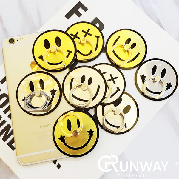 【R】韓國 鏡面可愛笑臉 金銀笑臉圖案 手機指環支架 GD 圓臉型 微笑支架 多用途環型支架 手機座