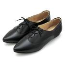 全真皮尖頭綁帶內增高德比鞋-黑色‧karine(MIT台灣製)