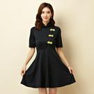 9950-JK中大尺碼*改良式立領旗袍大裙襬表演洋裝小禮服~美之札
