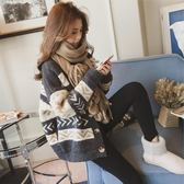 韓版短款寬鬆毛衣外套女開衫百搭圣誕紅色針織衫潮 伊衫風尚
