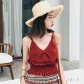 內搭衫秋季紅色針織v領木耳邊吊帶女內搭短款打底小背心 DJ1165『易購3c館』