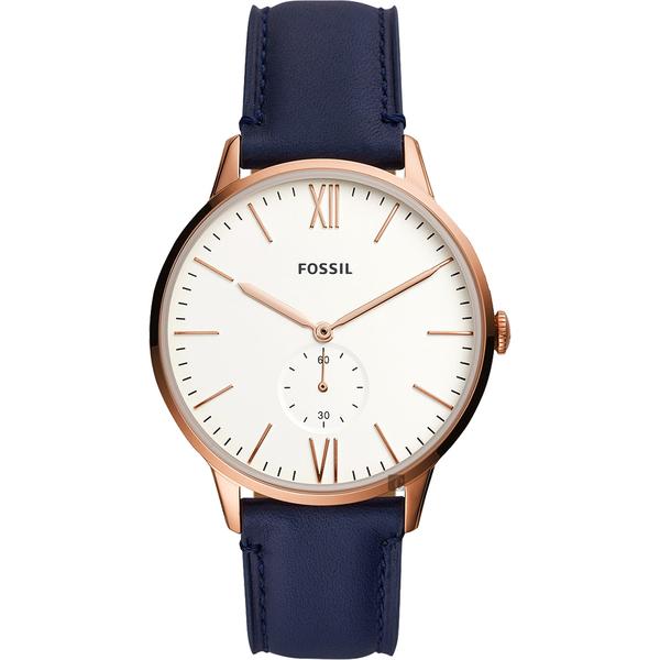 FOSSIL 都會簡約小秒針手錶-白x藍/42mm FS5567