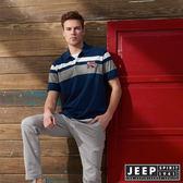 【JEEP】美式冒險簡約短袖POLO衫 (藍)