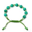 孔雀石圓珠與 Swarovski水晶珠中國結手鍊