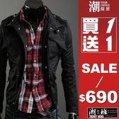 『潮段班』【HJ000080】俐落修身剪裁韓國版型經典款軍裝外套