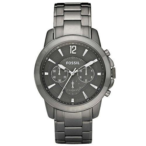 FOSSIL 深邃三眼時尚腕錶(鋼帶-灰)