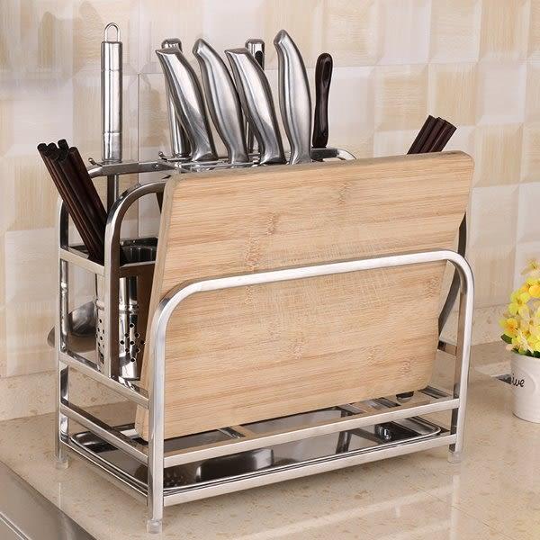 多功能不銹鋼刀架砧板架菜刀架菜板架刀座刀具廚房收納置物架壁掛