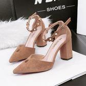 尖頭高跟鞋 一字帶花朵涼鞋 粗跟鞋 職業工作鞋《小師妹》sm1430