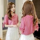 短袖襯衫 夏裝新款小清新甜美娃娃領格子襯衫女韓版學生短袖雪紡上衣潮 韓菲兒