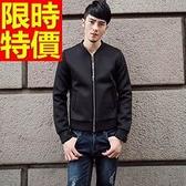 夾克外套 太空棉-時尚純色休閒簡約男立領外套2色65ac2[巴黎精品]