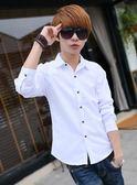 長袖襯衫-夏季純色長袖襯衫男士韓版修身青少年休閒白色襯衣潮流男裝外套寸 東川崎町
