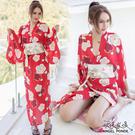 天使波堤【LD0568】日系長袍深V和服睡衣浴袍居家蕾絲罩衫緞面護士服馬甲萬聖節二件式-紅色