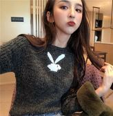 LGGDJDZ chic風秋冬新款小兔子長袖針織毛衣短款修身顯瘦上衣女