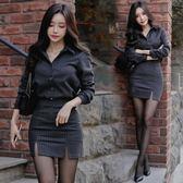 A612秋季新款韓版氣質條紋長袖襯衫修身包臀半身裙兩件套套33ZL-2F-A07-B韓依戀