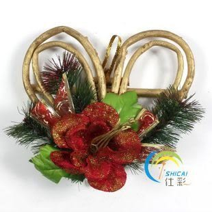 聖誕場景裝飾 心型藤圈