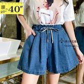 短褲裙--日常可愛甜美繫帶鬆緊褲頭兩側斜插口袋牛仔褲裙(藍M-5L)-R245眼圈熊中大尺碼◎
