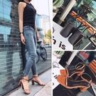 2020年韓版優雅一字帶方頭低跟涼鞋2色