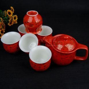 陶瓷隔熱防燙雙層茶具套裝