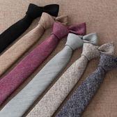 韓版潮窄6cm棉領帶男正裝商務結婚工作休閒百搭黑色白色灰色領帶 晴天時尚館