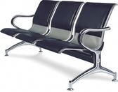 【IS 空間美學】802A 銀網面黑皮排椅2 人座三款尺寸可選