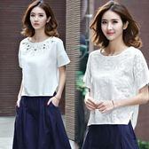 棉麻上衣刺繡短袖T恤女裝夏季寬鬆大碼半袖百搭文藝亞麻白色體恤 愛麗絲精品