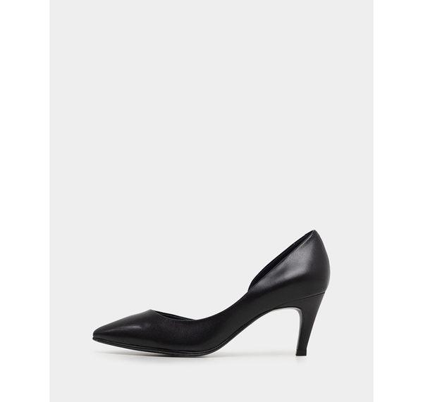 真皮包鞋- R&BB手工羊皮製*歐美極簡尖頭 優雅內側簍空靜音中高跟鞋-黑色