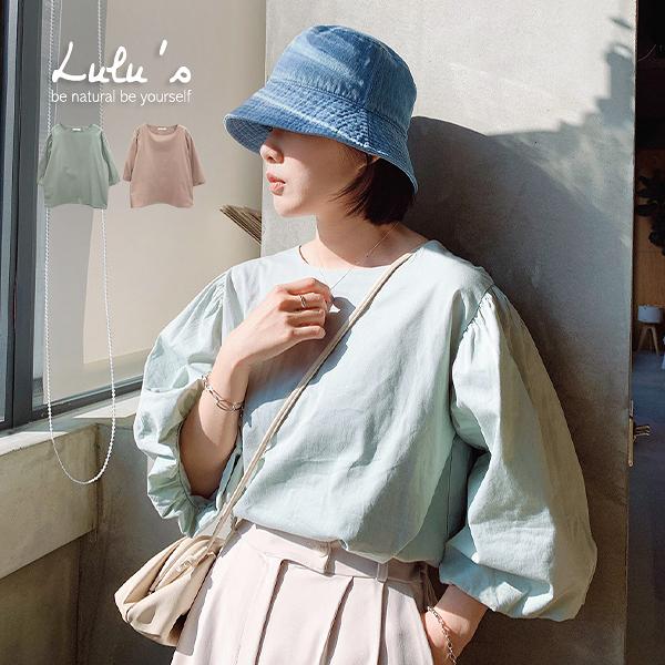LULUS【A01200090】E韓製-澎袖圓領上衣-2色