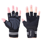 KHUITEN 3D矽膠護掌 彈力加長護腕手套 M號(黑色)