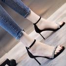 一字帶涼鞋女仙女風2021年新款夏水鑽細跟高跟鞋女網紅百搭時裝鞋