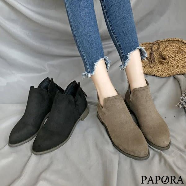 PAPORA時尚絨面低跟短靴KYK46黑/卡其(偏小)