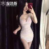 酒吧夜場女裝主播服裝網紅同款深V領低胸開叉緊身包臀吊帶連身裙 快速出貨