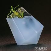創意不倒翁威士忌酒杯 雞尾酒玻璃杯個性酒杯鑚石杯 錐型古典酒杯 電購3C