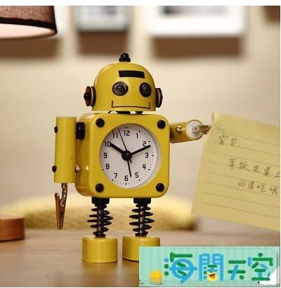 鬧鐘鬧鈴床頭可愛創意個性機器人小男孩時鐘表品牌【海闊天空】