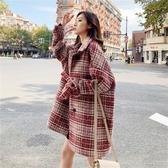 毛呢外套 韓系秋冬百搭寬鬆格子中長款大衣 花漾小姐【預購】
