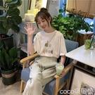 熱賣時尚套裝小個子休閒運動套裝女新款春夏韓版學生洋氣寬鬆短袖九分褲兩件套  coco