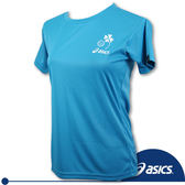 ASICS 亞瑟士 女 排球印花T恤(天藍) 吸汗速乾抗UV(S/M)。