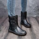 真皮馬丁靴女  手工鞋  文藝 復古 真皮短靴  -夢想家-標準碼-0928
