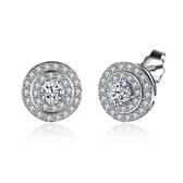 925純銀耳環 鑲鑽-簡約圓形經典百搭生日情人節禮物女飾品73lb14【時尚巴黎】