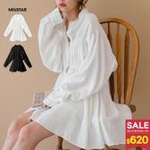 MIUSTAR 設計款縮腰澎袖排釦襯衫洋裝(共2色)【NG001549】預購