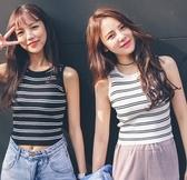 EASON SHOP(GW1184)韓版學院條紋無袖背心針織衫坑條內搭衫閨蜜裝彈力貼身緊身包胸女上衣服冰絲