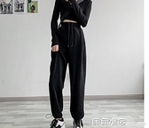 運動褲女寬鬆束腳夏季薄款2021新款顯瘦百搭春秋直筒闊腿休閒衛褲 蘇菲小店