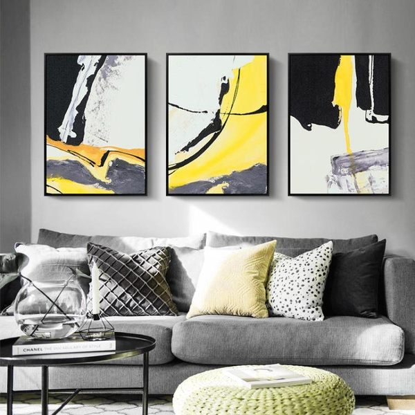 現代抽象畫沙發背景墻壁畫酒店油畫掛畫客廳北歐裝飾畫 簡約大氣WY