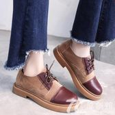 鞋子女平底韓版學生百搭英倫風女鞋春季單鞋系帶學院風復古小皮鞋