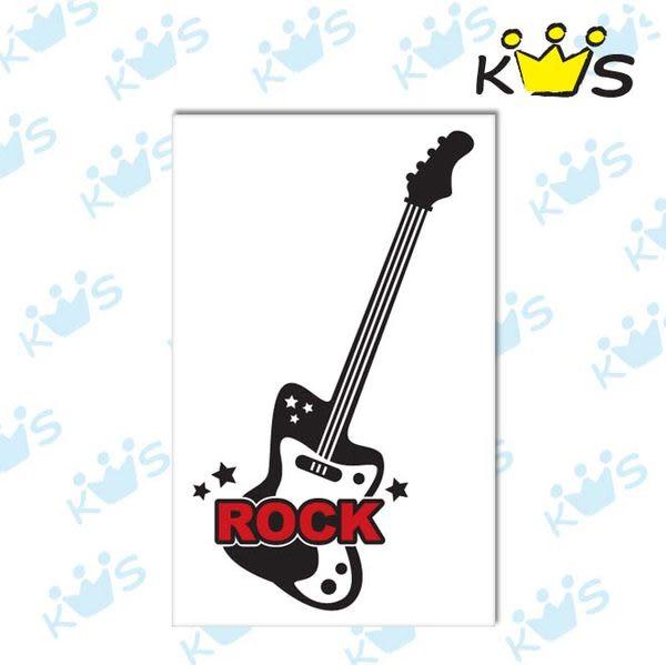 【浮雕貼紙】ROCK吉他 # 壁貼 防水貼紙 汽機車貼紙 6.2cm x 10.7cm