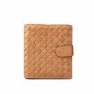 【BOTTEGA VENETA】山羊皮編織 零錢袋短夾(霧金)BV23000025